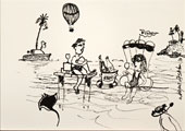 Pinski's Travelling Dive Troupe Inks drawing