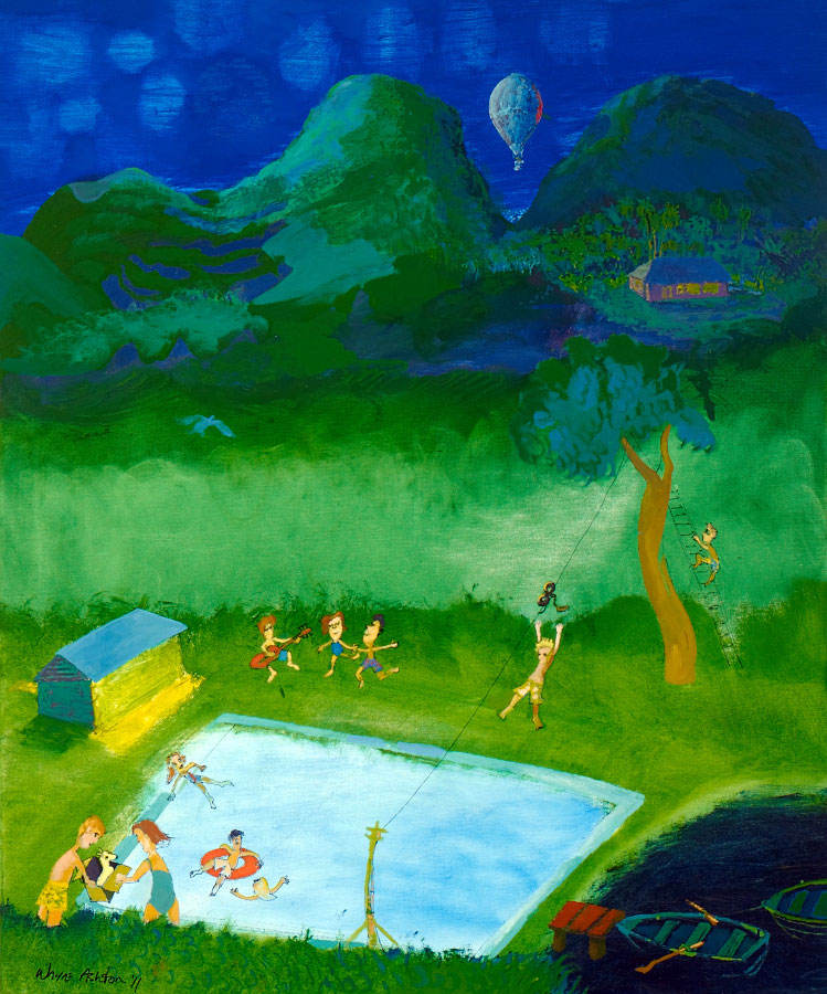 Pool at Fox Landing, Pinski's Travelling Dive Troupe Arriving large painting